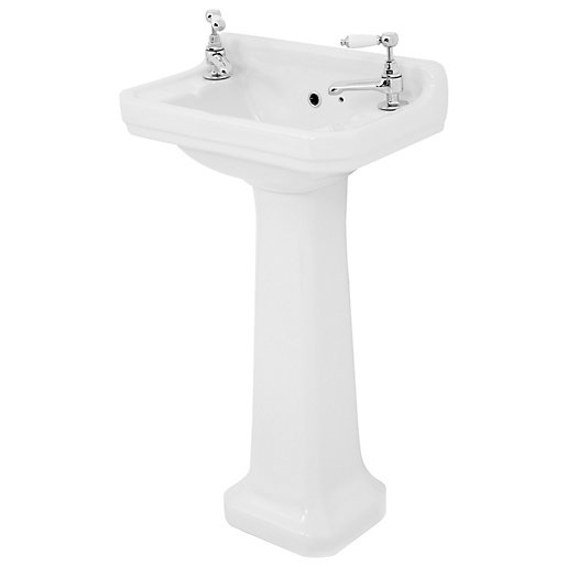 Wickes Oxford Traditional 2 Tap Hole Ceramic Basin