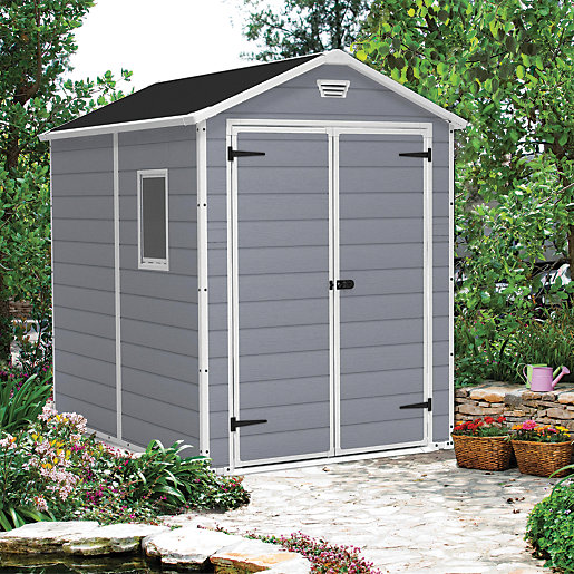 Keter Manor Double Door Plastic Shed Grey -