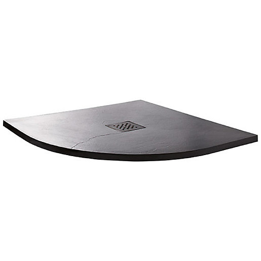 Wickes 35mm Black Textured Quadrant Shower Tray -