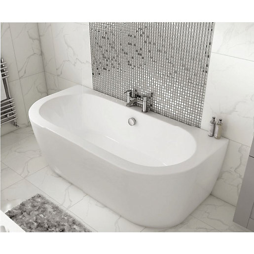 Wickes Blend D-Shaped Bath with Panel - 1700mm