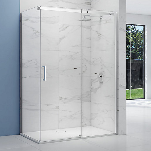 Nexa By Merlyn 8mm Frameless Chrome Sliding Shower