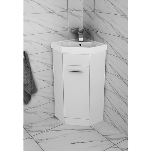 Wickes Porto Corner Freestanding Vanity Unit With Basin 420mm Wickes Co Uk