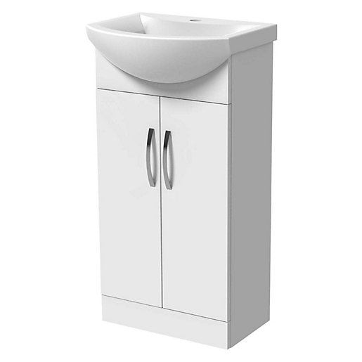 Wickes White Gloss Compact Vanity Unit Basin 840 X 450mm Wickes Co Uk