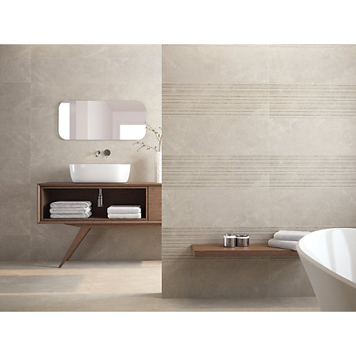 Wickes Boutique Paloma Grey Structure Ceramic Wall Tile