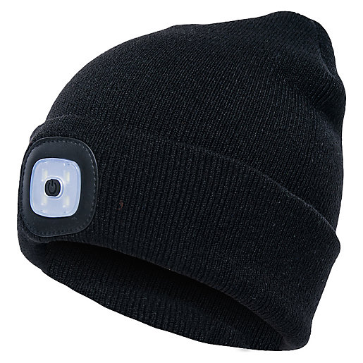 Trademate Black Beanie Hat with LED White Light