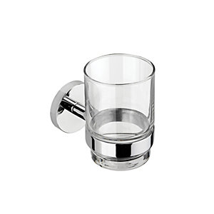 Croydex Pendle Flexi-Fix Chrome Toothbrush Holder & Tumbler