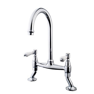 Wickes Zores Kitchen Sink Bridge Mixer Tap - Chrome