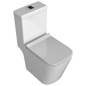 Wickes Meleti Easy Clean Close Coupled Open Back Toilet Pan, Cistern & Soft Close Slim Seat