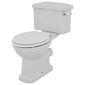 Wickes Oxford Traditional Close Coupled Toilet Pan, Cistern & White Soft Close Seat