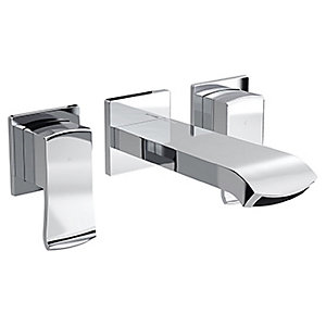 Bristan Descent 195mm 3 Hole Deck Wall Mounted Basin Mixer Tap - Chrome