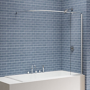 Nexa By Merlyn 6mm Square Bath Screen with Curtain Rail & Panel -1500 x 300mm