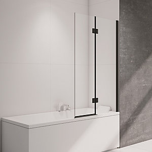 Nexa By Merlyn 8mm 2 Panel Frameless Black Bath Screen - 1500mm x 900mm