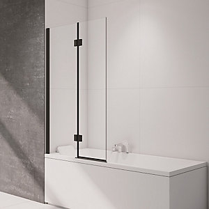 Nexa By Merlyn 8mm 2 Panel Square Hinged Left Hand Black Bath Screen - 1500 x 900mm