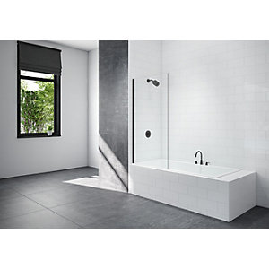 Nexa By Merlyn 8mm Black Frameless Fixed Square Panel Bath Screen - 1500 x 800mm