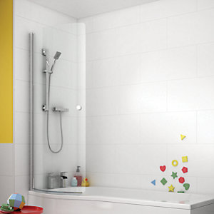 Wickes 5mm Curved Front Shower Bath Screen For P-shaped Baths - 1500 X 752mm