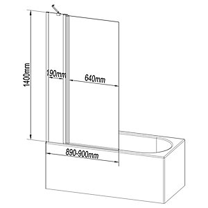 Wickes 6mm Fixed Half Framed Bath Screen - 1400 x 900mm
