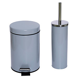 Wickes 3L Pedal Bin & Toilet Brush Holder - Grey