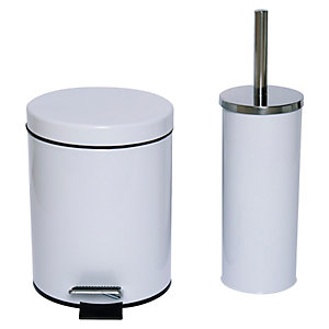 Wickes 3L Pedal Bin and Toilet Brush Holder - White