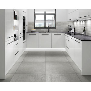 Wickes Boutique Andora Grey Glazed Porcelain Wall & Floor Tile - 790 x 790mm