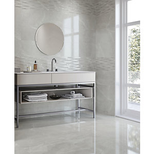 Wickes Boutique Bukan Silver Glazed Porcelain Wall & Floor Tile - 600 x 600mm