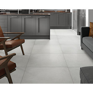 Wickes Boutique Chamonix White Glazed Porcelain Wall & Floor Tile - 790 x 790mm