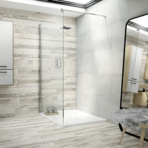 Wickes Boutique Harlem Silver Glazed Porcelain Wall & Floor Tile - 890 x 442mm