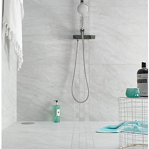 Wickes Boutique Kallo Stone Light Grey Grip Glazed Porcelain Wall & Floor Tile - 598 x 598mm