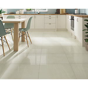 Wickes Boutique Lustral Bone Glazed Porcelain Wall & Floor Tile - 600 x 600mm