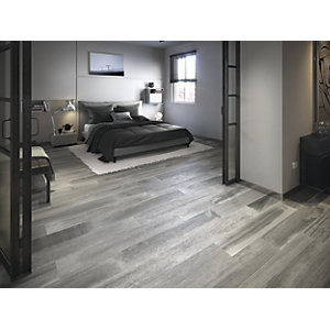 Wickes Boutique Oslo Grey Glazed Porcelain Wood Effect Wall & Floor Tile - 1200 x 200mm