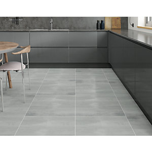 Wickes Boutique Synthesis Grey Glazed Porcelain Wall & Floor Tile - 600 x 600mm