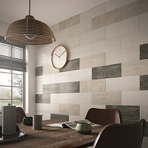 Wickes Brooklyn Plaster Grey Ceramic Wall Tile - 500 x 200mm