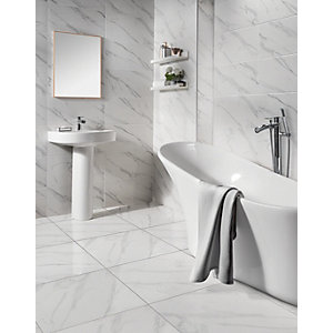Wickes Calacatta Gloss White Marble Effect Glazed Porcelain Wall & Floor Tile - 605 x 605mm