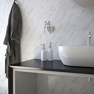 Wickes Carrara Gloss Ceramic Wall Tile - 300 x 100mm