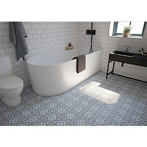 Wickes Melia Blue Patterned Ceramic Wall & Floor Tile - 200 x 200mm