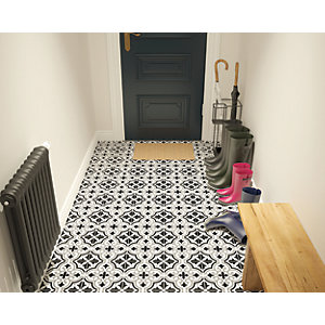 Wickes Melia Charcoal Patterned Ceramic Wall & Floor Tile - 200 x 200mm