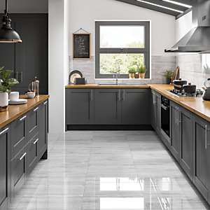 Wickes Olympia Light Grey Polished Stone Porcelain Wall & Floor Tile - 600 x 300mm
