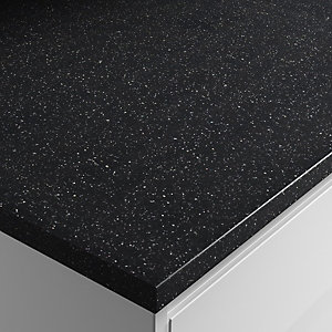 Wickes Black Quartz Laminate Bathroom Worktop - 2m x 337mm x 28mm