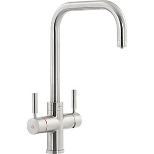 Pronteau by Abode Protex 3 In 1 Steaming Water Monobloc Sink Tap - Brushed Nickel