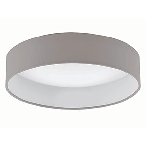 Eglo Palomaro LED Taupe & White  Fabric Round Ceiling Light - 11W