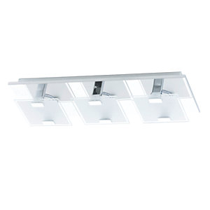 Eglo Vicaro LED Chrome 3 Lamp Square Flush Ceiling Light - 3 x 2.5W