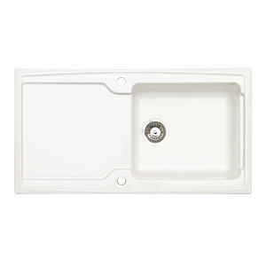 Wickes Contemporary 1 Bowl Ceramic Kitchen Sink White Wickes Co Uk