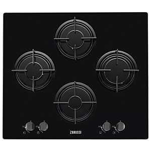 Zanussi 60cm Gas On Glass Hob Black ZGX65414BA