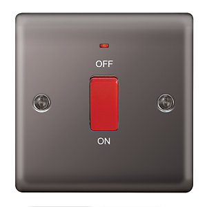 Wickes 45A 1 Gang Cooker Switch Black Nickel Raised Plate