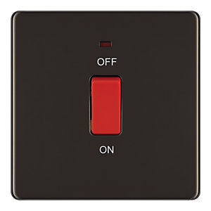 Wickes 45A 1 Gang Cooker Switch Black Nickel Screwless Flat Plate