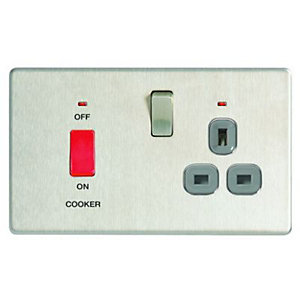 Wickes 45A Cooker Switch & 13A Socket Brushed Steel Screwless Flat Plate