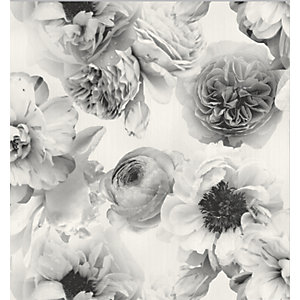 Arthouse Diamond Bloom Floral Mono Wallpaper 10.05m x 53cm
