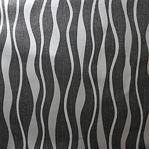 Arthouse Metallic Wave Black& Silver Wallpaper 10.05m x 53cm