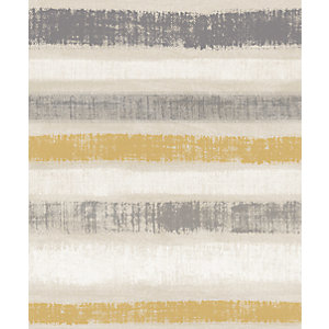 Arthouse Painted Stripe Ochre Wallpaper 10.05m x 53cm