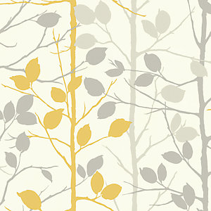 Arthouse Woodland Grey/Yellow Wallpaper 10.05m x 53cm