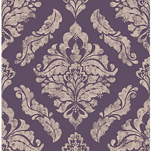 Boutique Damaris Damson/Purple Decorative Wallpaper - 10m